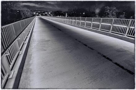 Indiana Ramp at Night. B&W Version