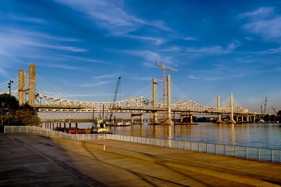 The Downtown Span of the Ohio River Bridges Project nears completion of structural steel and cable stay operations.