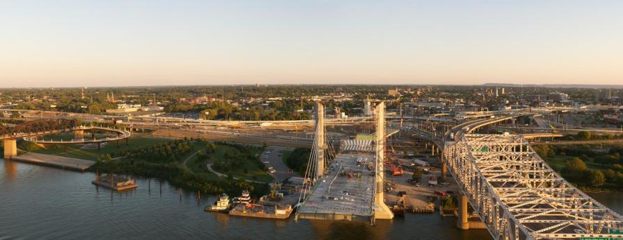 Panorama of the Kentucky Approach to the Downtown Span and Spaghetti Junction.