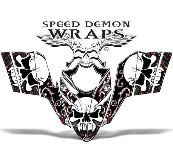 RMK Dragon Snowmobile Sled Vinyl Graphic Wrap Skullen Red