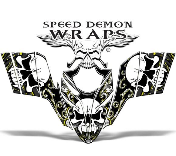RMK Dragon Snowmobile Wrap yellow Skullen