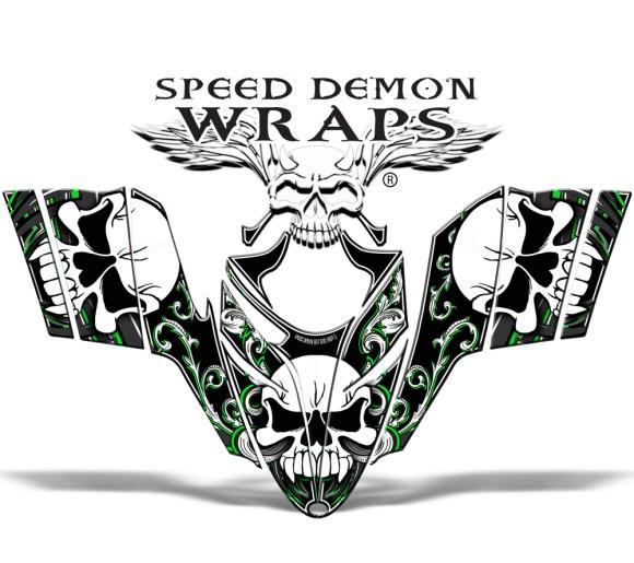 RMK Dragon Wrap Skullen Snomobile Sled Vinyl Graphics Green