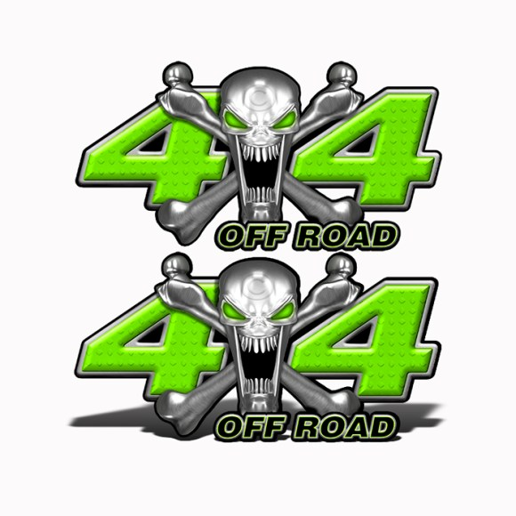 Mk404OR4-4x4-Off-Road-Stainless-Steal-skull-Head-Bright-Green