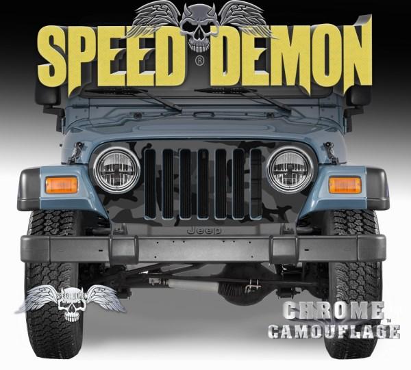 1997-2006 Jeep Grill Wraps Black Urban Camouflage Camo
