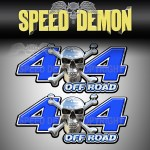 CHROME SKULL 4x4 Off Road Decal Blue