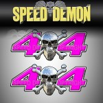 CHROME SKULL 4x4 Decals Pink