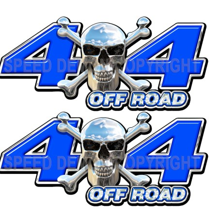 Chrome Skull 4x4 Off Road Decals Blue