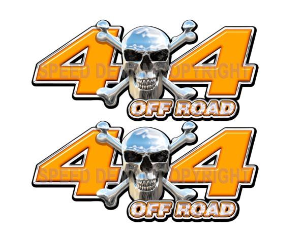 Chrome Skull 4x4 Off Road Decals Orange