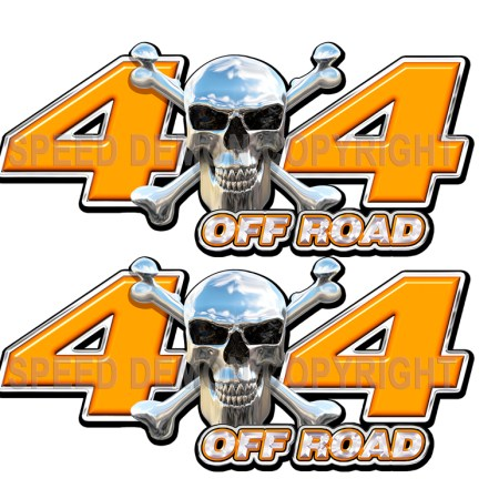 Chrome Skull 4x4 Off Road Decals Orange