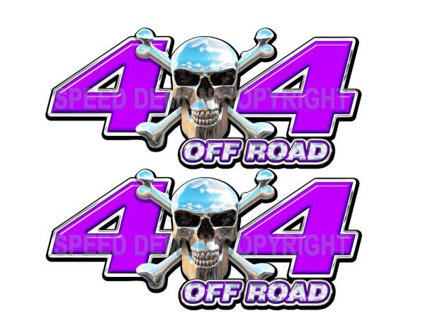 Chrome Skull 4x4 Off Road Decals Purple