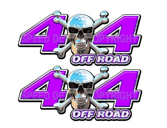 Chrome Skull 4x4 Off Road Decals Purple