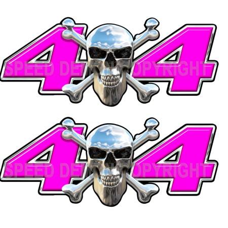 Chrome Skull 4x4 Decals Pink