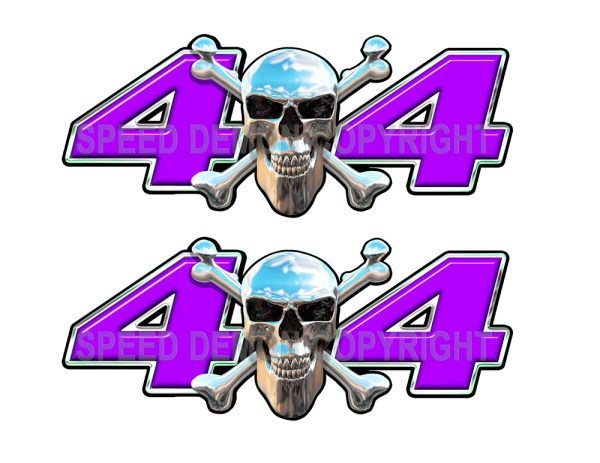 Chrome Skull 4x4 Decals Purple