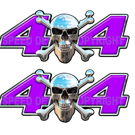 Chrome Skull 4x4 Decals Purple