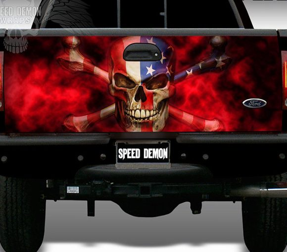The Patriot American Flag-Skull Tailgate Wrap
