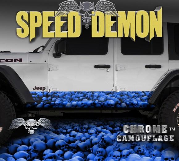 Jeep Wrangler Rocker Wraps SKULL CRUSHER BLUE