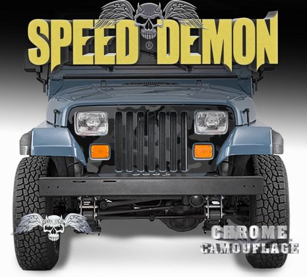 Jeep Wrangler Grill Wraps Camo Black Urban Camouflage 1987-1995 YJ