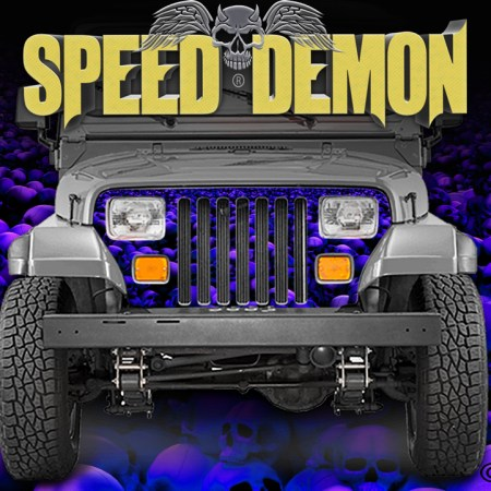 Jeep Wrangler Grill Wraps Skulls Skull Crusher Camouflage Blue Purple Hue