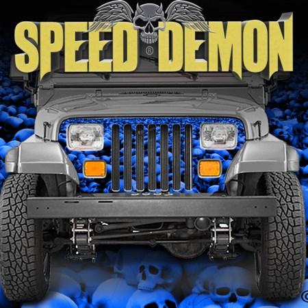 Jeep Wrangler Grill Wraps Skulls Skull Crusher Camouflage Blue1987-1995-YJ-