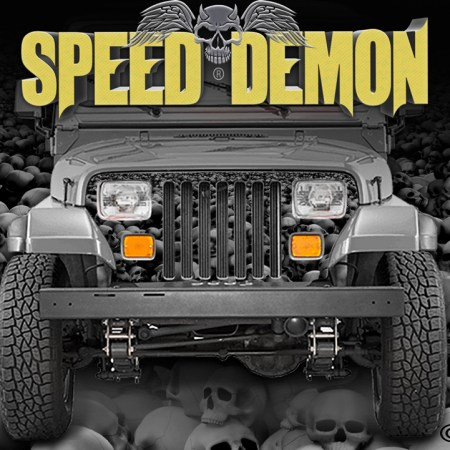Jeep Grill Wraps Skulls Subdued