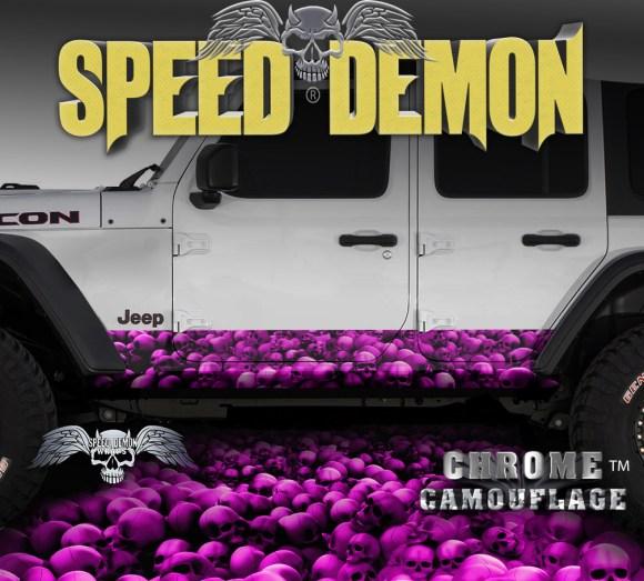Jeep Wrangler Rocker Wraps Skull Crusher Pink 4 door