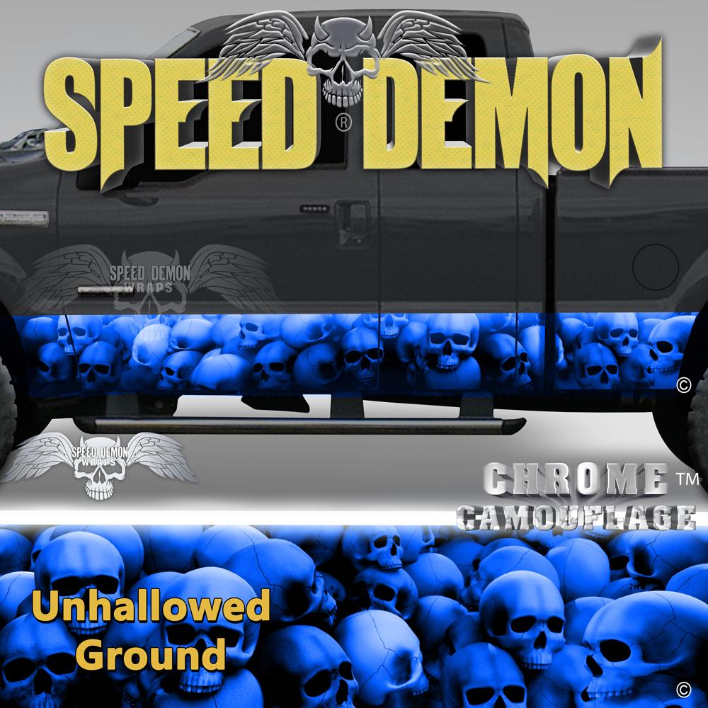 Skull Truck Rocker Panel Wraps-Blue Skulls Unhallowed Ground