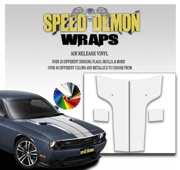 Dodge Challenger 2011 - 2014 Hood White T Stripe Decal