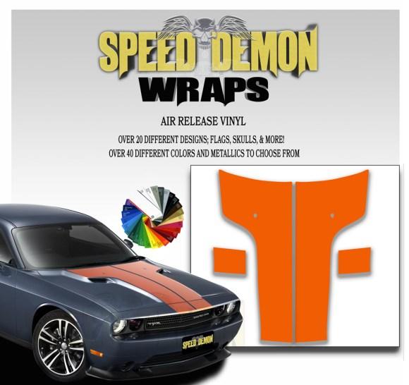 Dodge Challenger Hood Stripes Orange