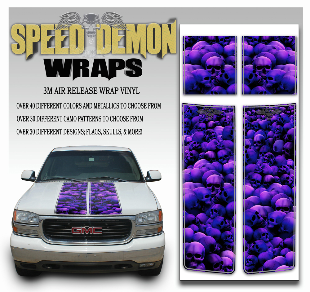GMC Sierra Stripes Skulls Purple 2000-2006