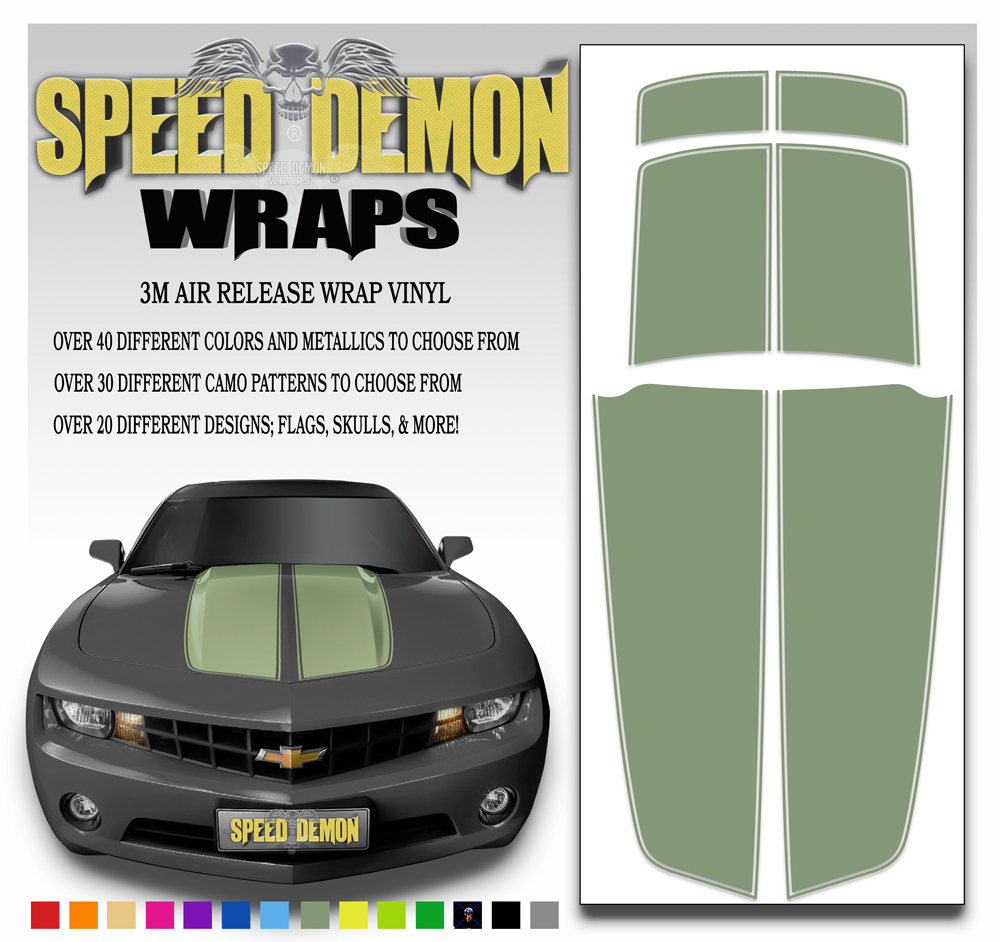 Camaro Stripes Army Green 2010-2011-2012-2013-2014-2015
