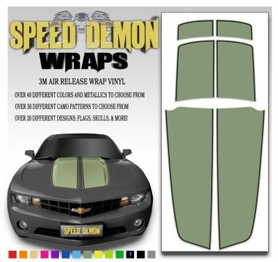 Camaro Stripes Army Green With Black Pin Stripe 2010-2011-2012-2013-2014-2015