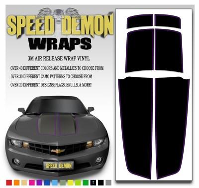 Black Camaro Stripe Kit With Purple Pin Stripe 2010-2015