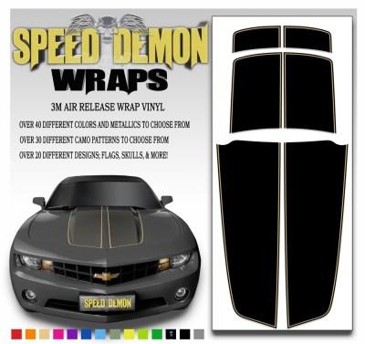 Black Camaro Stripe Kit With Tan Pin Stripe 2010-2015