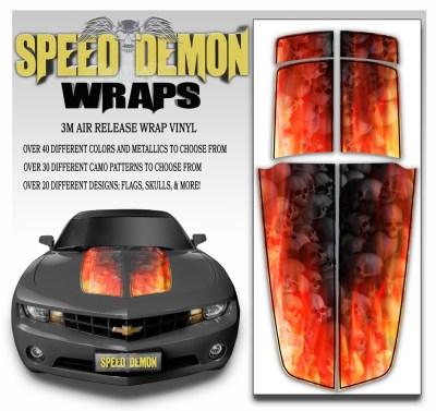 Camaro Stripes Flaming Grey Skulls With Black Pin Stripe 2010-2011-2012-2013-2014-2015