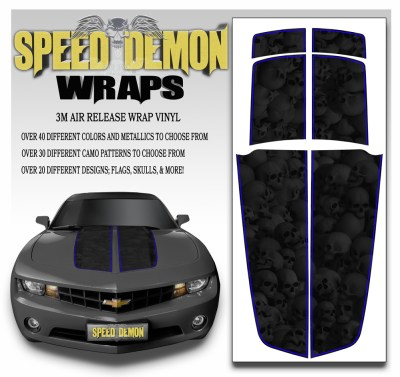 Camaro Stripes Heavily Ghosted Skulls With Blue Pin Stripe 2010-2011-2012-2013-2014-2015