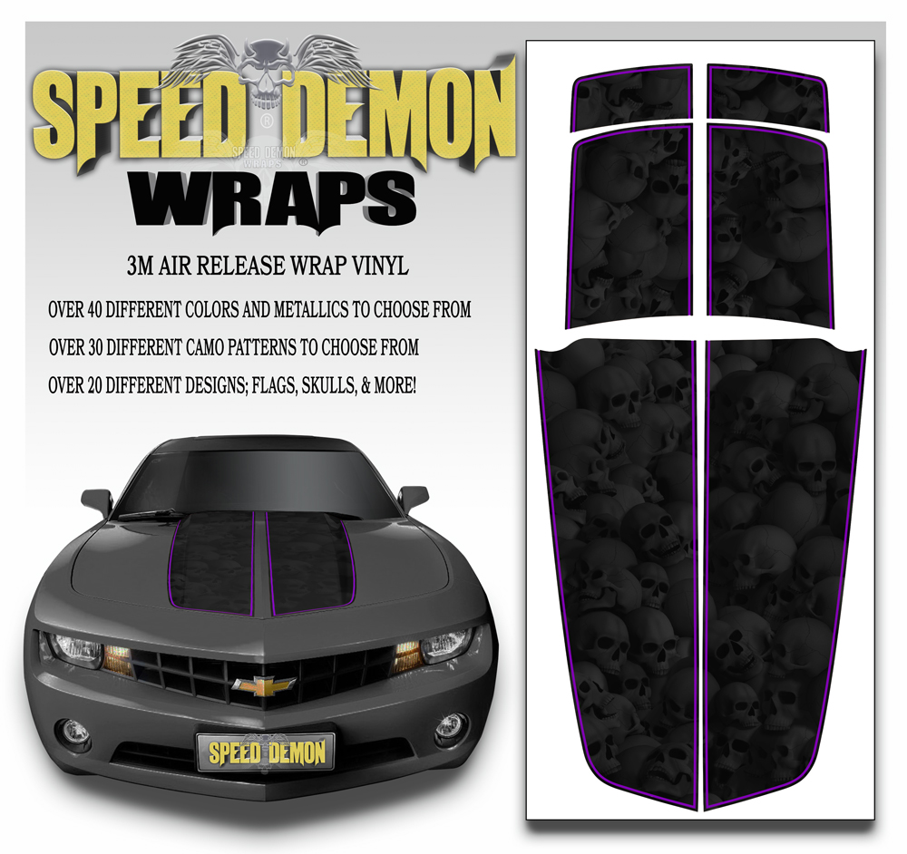 Camaro Stripes Heavily Ghosted Skulls With Purple Pin Stripe 2010-2011-2012-2013-2014-2015