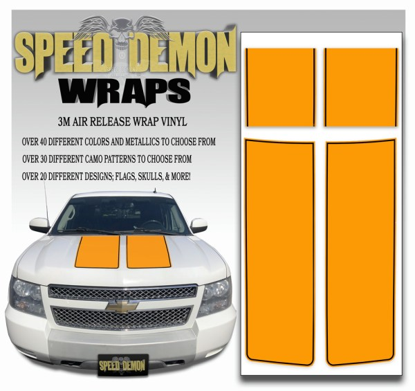 Chevrolet Avalanche Stripes Orange Black Stripe 2007-2013