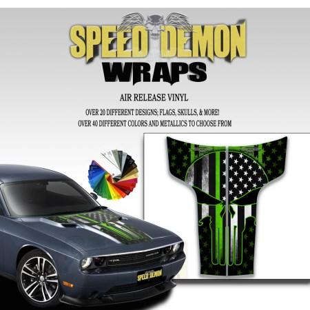 Dodge Challenger Hood Punisher Stripes Decal American Flag Green Line 2011-2012-2013-2014