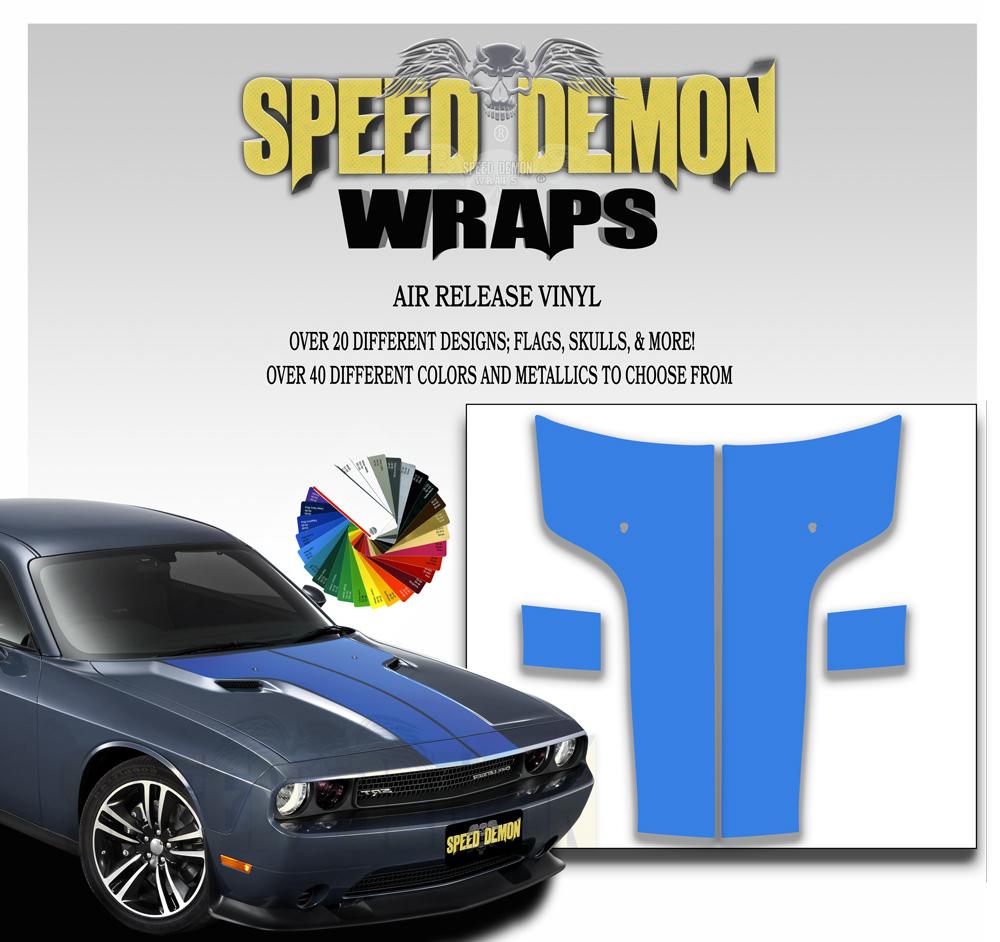 Dodge Challenger Hood T Stripe-Blue 2011-2012-2013-2014