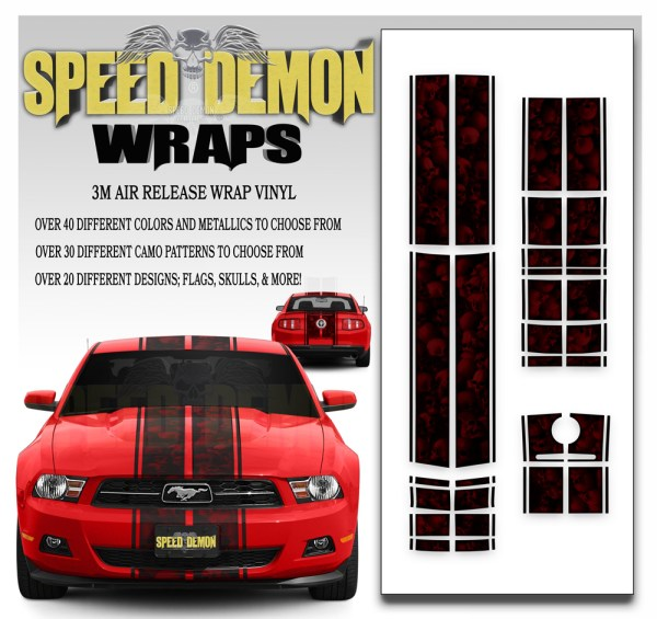 Ford Mustang Eleanor Racing Stripe Kit Skulls Ghosted Red 2010-2011-2012