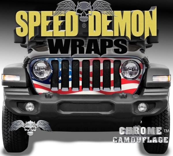 Jeep Wrangler Grill Wrap Waving American Flag 2018-2019 JL V2