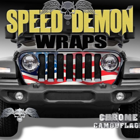 Jeep Wrangler Grill Wrap Waving American Flag 2018-2019 JL V2