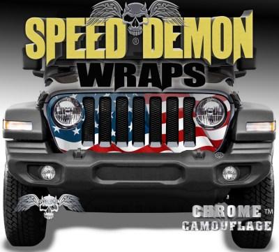 Jeep Grill Wrap Waving American Flag V2 2018-2019 JL