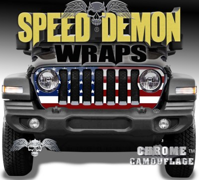 Jeep WranglerGrill Wraps American Flag 2018-2019-2020 JL