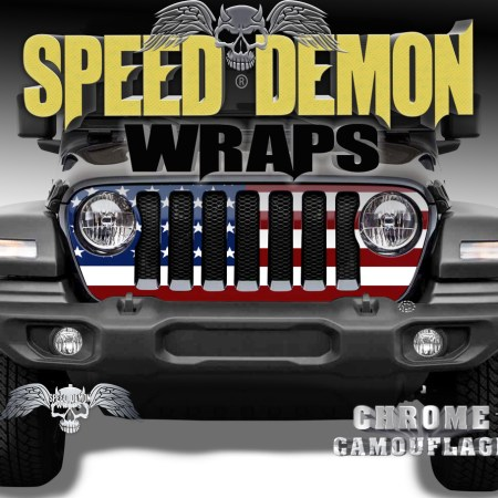 Jeep Wrangler Grill Wraps American Flag 2018-2019-2020 JL