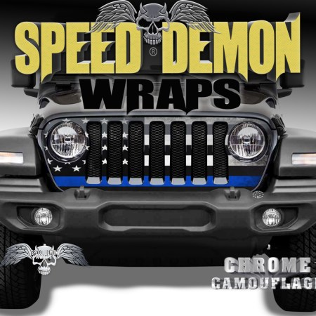 Jeep Wrangler Grill Wraps American Flag 2018-2019-2020 JL Blue Line