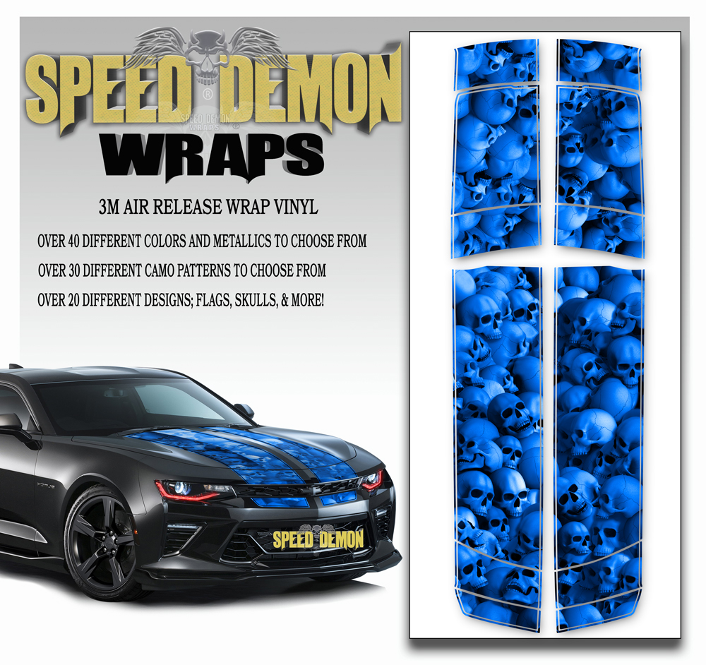 Skull Stripper V6 Camaro Stripes Blue 2016-2017-2018
