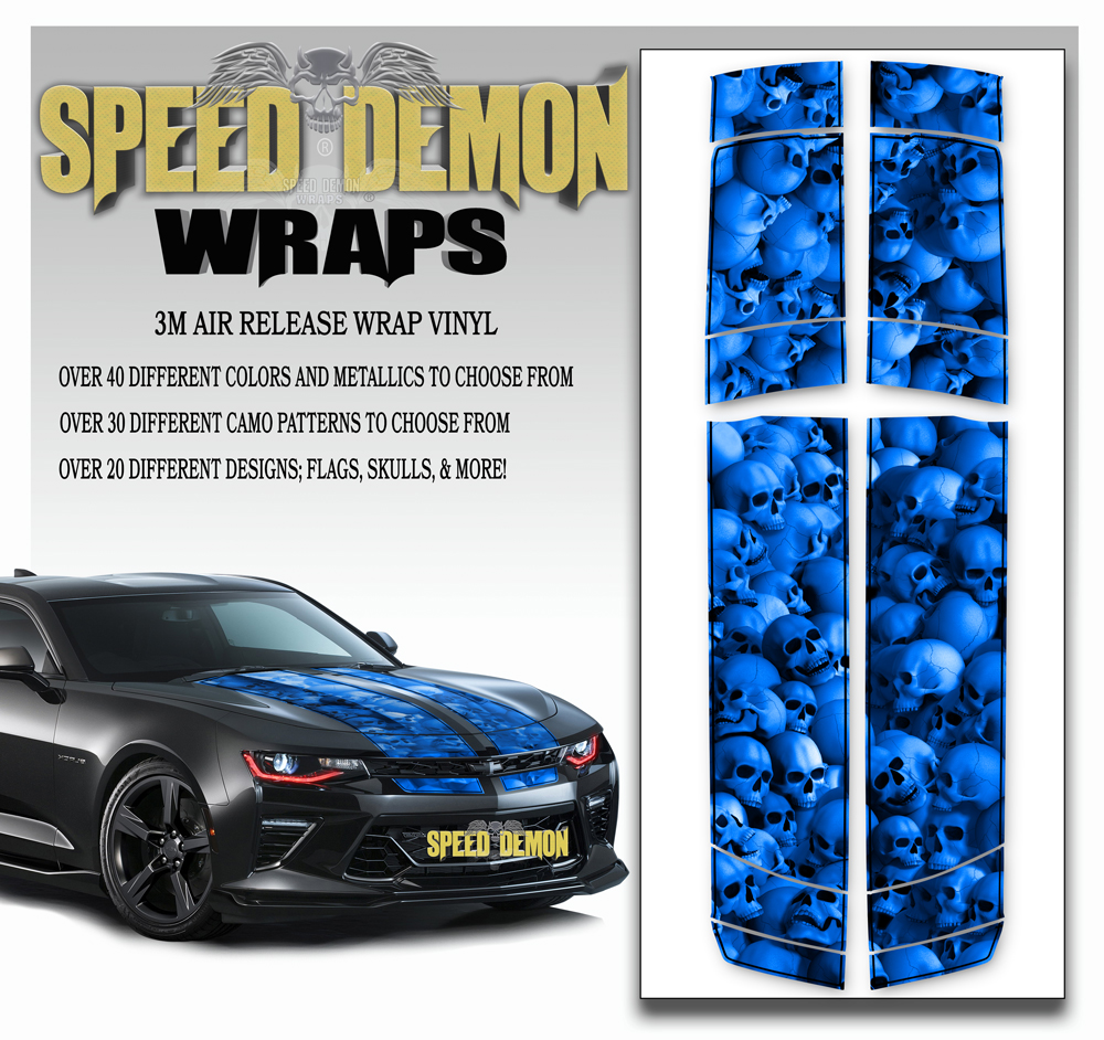 Skull Stripper V6 Camaro Stripes Blue- w BLK PS 2016-2017-2018