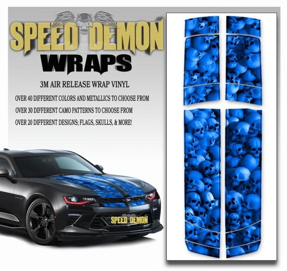 Skull Stripper V6 Camaro Stripes Blue- w BLK PS 2016-2017-2018