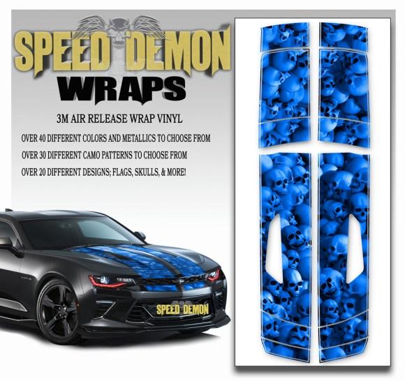 Skull Stripper V8 Camaro Stripes Blue- 2016-2017-2018